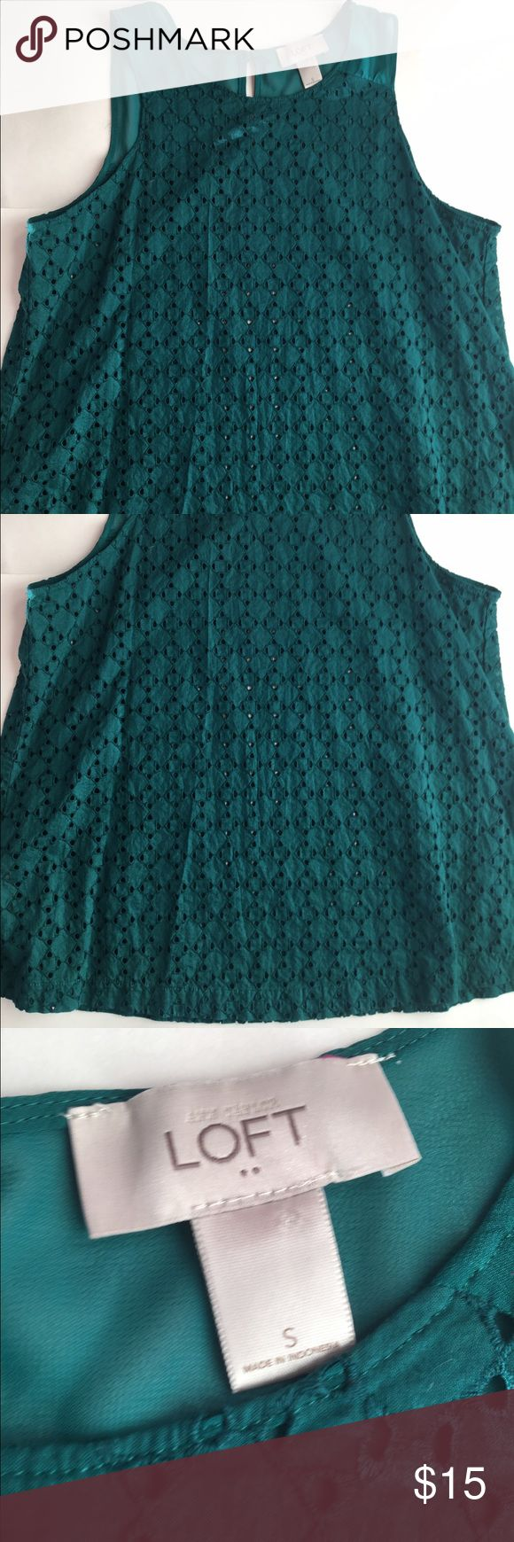 Anne Taylor loft green eyelet tank Anne Taylor loft sleeveless top with Button and sheer in back LOFT Tops Tank Tops