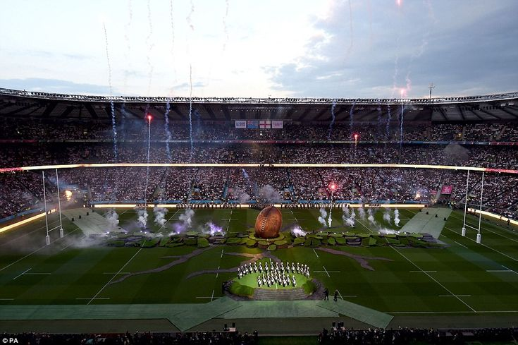 Stunning:Throughout the Rugby World Cup opening ceremony tonight, the centre of the pitch ...