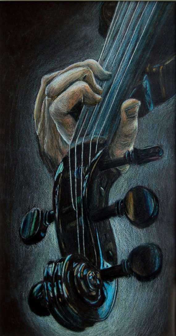 Violin/Viola Scroll Colored Pencil Drawing by itllglowonyou, $120.00