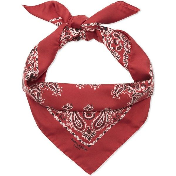 Saint Laurent Silk bandana scarf ($285) ❤ liked on Polyvore featuring accessories, scarves, pure silk scarves, silk bandana, silk handkerchief, silk shawl and silk scarves
