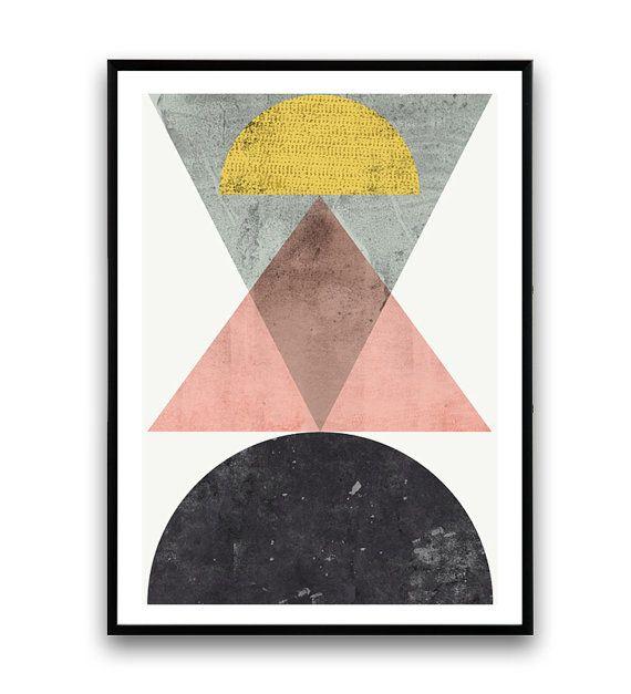 Geometrische print abstracte kunst Scandinavisch door Wallzilla