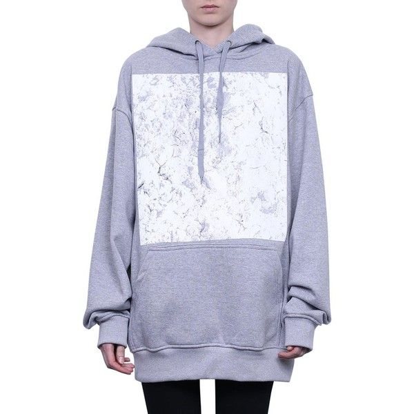 Ih Nom Uh Nit Ih Nom oversized cotton hoodie (£325) ❤ liked on Polyvore featuring tops, hoodies, grey, long sleeve cotton tops, long sleeve tops, long sleeve hoodies, sweatshirt hoodies and grey hoodies