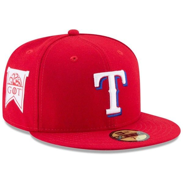 New Era Texas Rangers Game of Thrones 59FIFTY Cap (£30) ❤ liked on Polyvore featuring accessories, hats, royalblue, new era cap, fitted caps, new era hats, crown hat and crown cap hats
