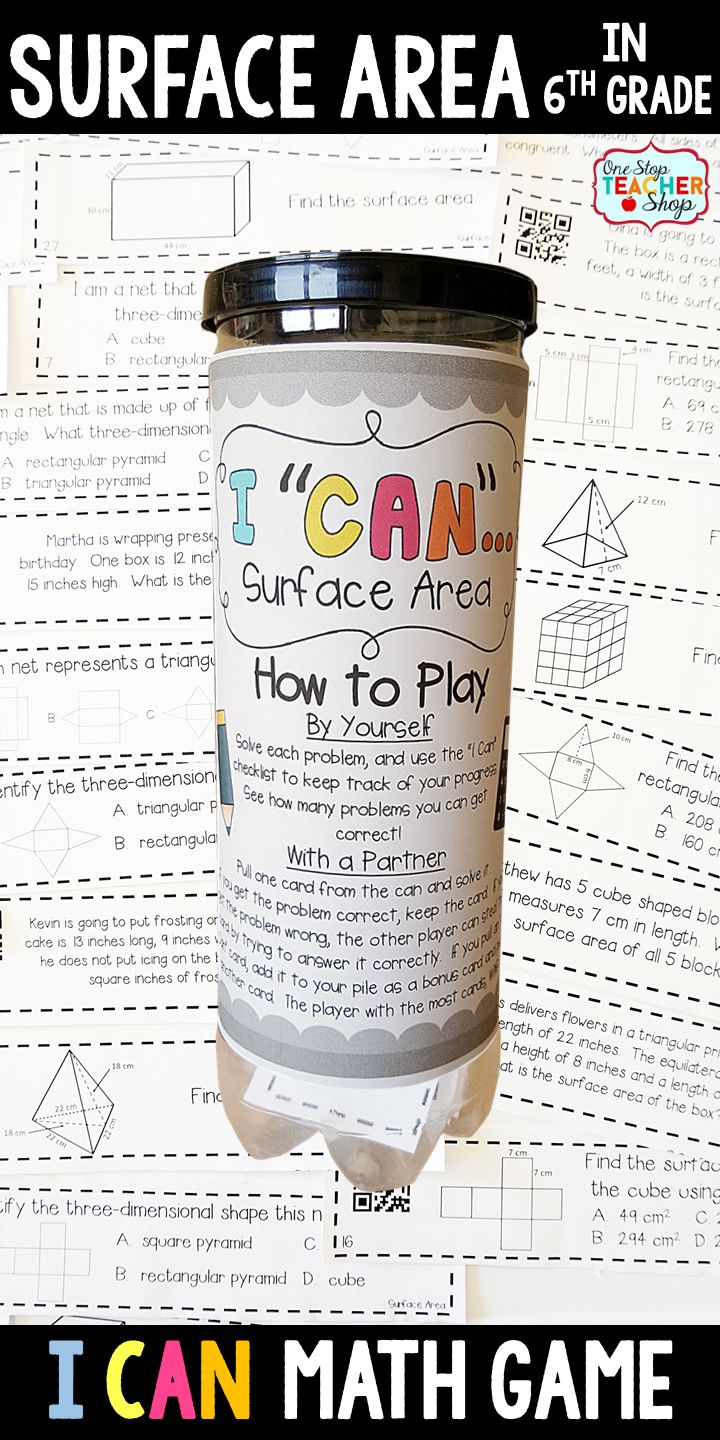 6th grade math game for SURFACE AREA. Perfect for small group games, independent practice, whole class review, and progress monitoring. This math game covers ALL Common Core math standards related to surface area in Sixth Grade.