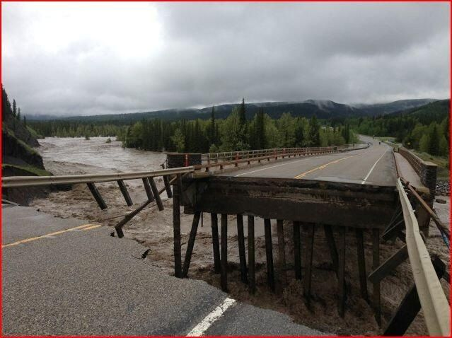 Washed out bridge in the Calgary Flood