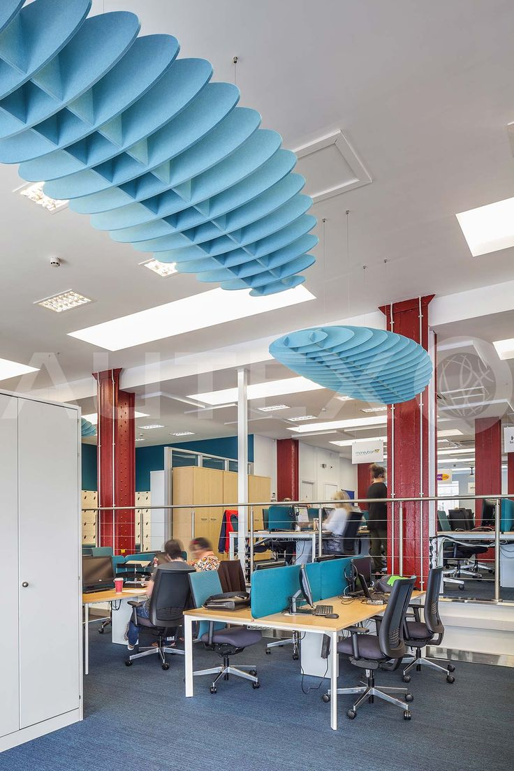 Quietspace® Lattice, Eclipse - Carfinance247, UK - Suspended from ceiling - Colour: Falling Water - Modern Office Space