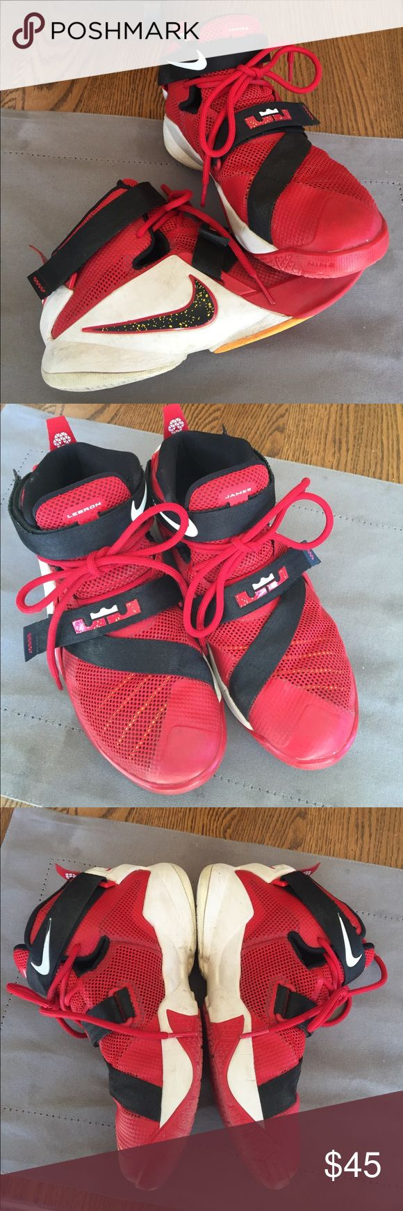 Nike Lebron James red boys high top shoes My son wore these for one season - great used condition. Boys size 4.5 Nike Lebron James Shoes Sneakers