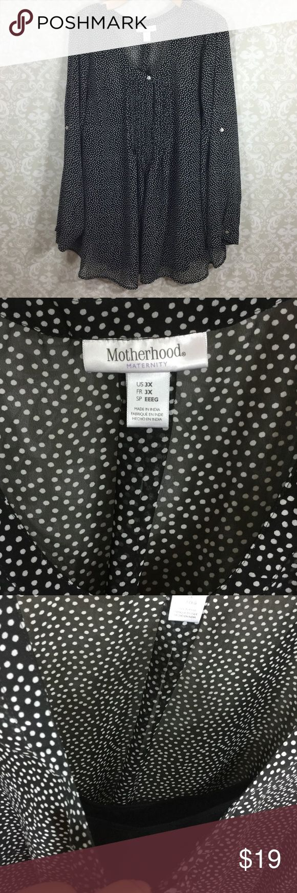 Motherhood Maternity 3X plus size polka dot blouse Excellent condition, minimal to no wear seen. Size 3X. Sleeves can be adjusted to 3/4 sleeve. Attached black cami. Motherhood Maternity Tops Blouses
