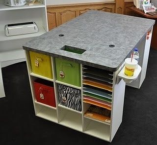 Excellent ideas for craft table, cut outs for a small trash can underneath the table and circular holes for electrical cords ( glue gun, laptop, desk lamp etc. )