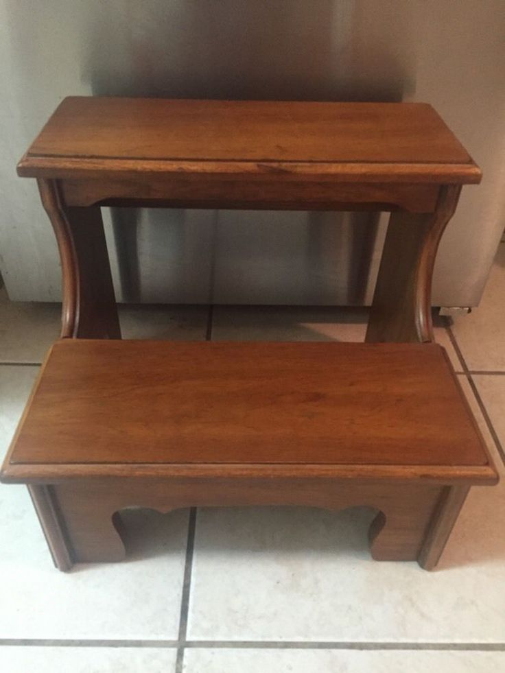 thomasville furniture wood bed step stool two step stairs strong and heavy ebay. Black Bedroom Furniture Sets. Home Design Ideas