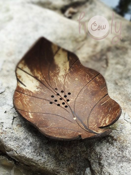 Natural Coconut Shell Leaf Soap Dish by HolyCowproducts on Etsy