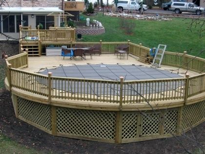 11 best images about pool deck ideas on pinterest small for Above ground pool decks for small yards