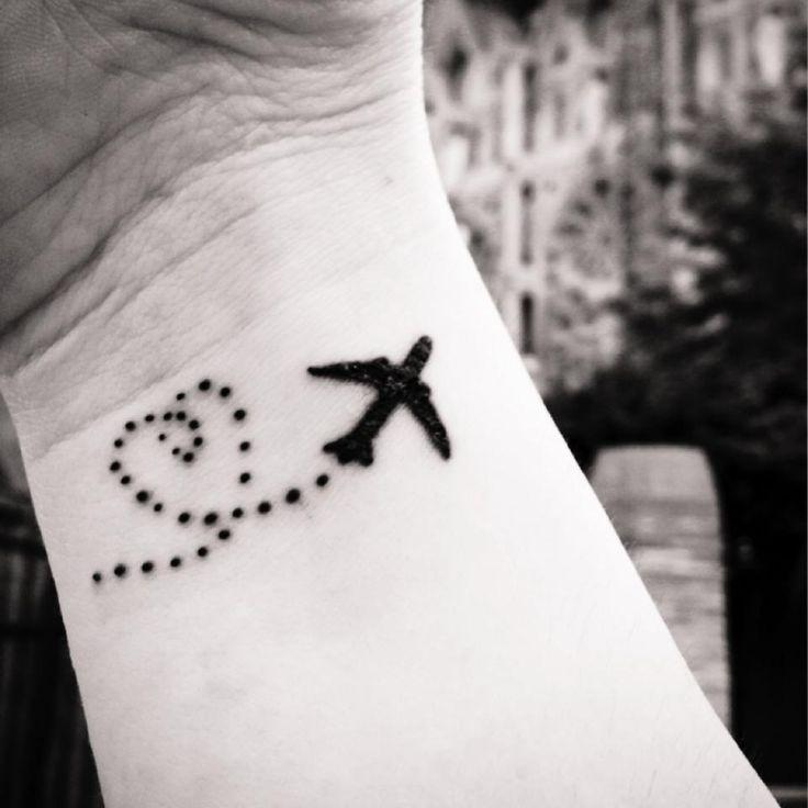 airplane tattoo, travel tattoo, airplane tattoo with heart jet stream