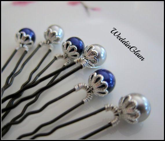 Something Blue Hair Pins, Wedding Hair accessories,  Bridesmaid Wedding Hair…