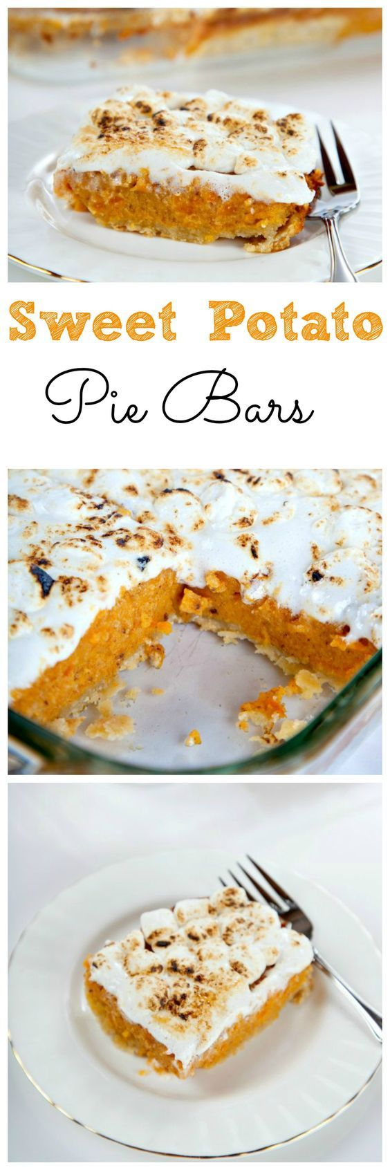 Sweet Potato Pie Bars: A flaky cream cheese crust filled with brown sugar sweet potatoes and topped with gooey marshmallows. Perfect Thanksgiving Dessert!