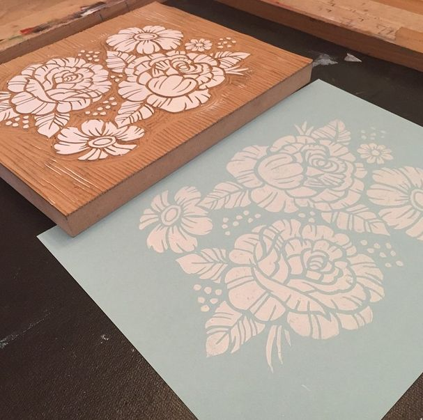 Roses. Floral design, block print by the talented Derrick ...