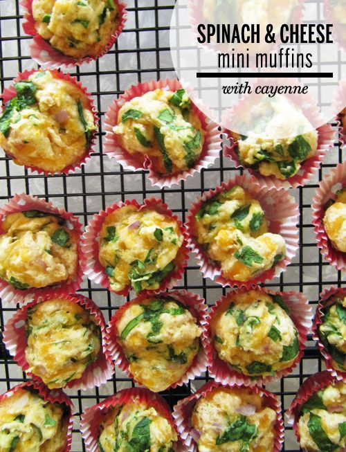 Spinach and cheese with cayenne mini- muffins.