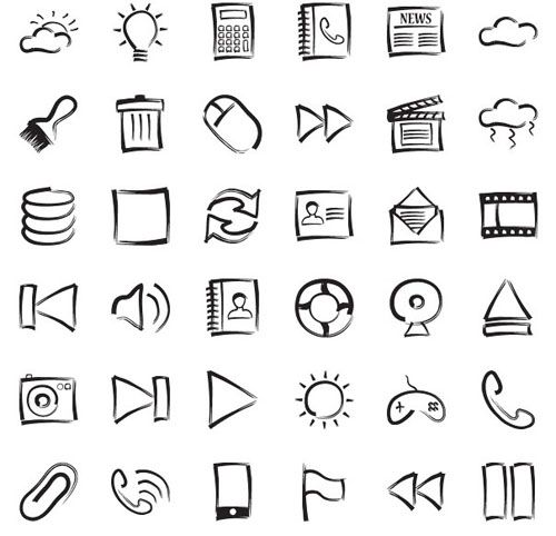 hand drawn icons to go with our design/theme