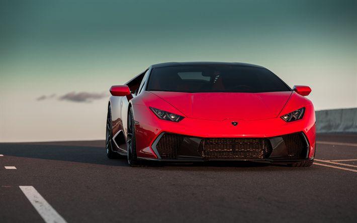 Download wallpapers Vorsteiner, tuning, Lamborghini Huracan, 2018 cars, road, hypercars, red Huracan, Lamborghini