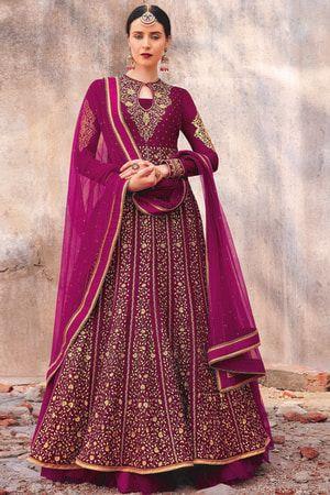 6efef80e068 Craftsvilla Pink Velvet Embroidered Semi-stitched Anarkali Suit ...