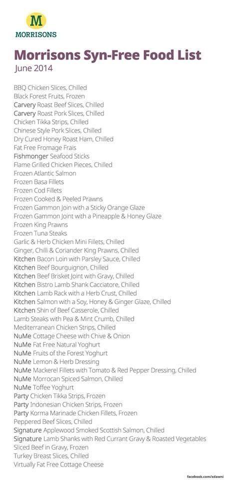 Morrisons syn free foods