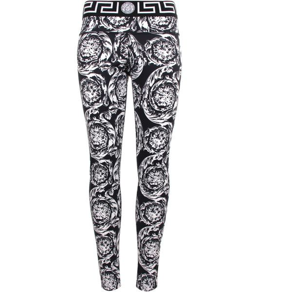 Versace Baroque leggings ($375) ❤ liked on Polyvore featuring pants, leggings, embellished leggings, slim fit pants, white spandex pants, stretch pants and stretchy pants