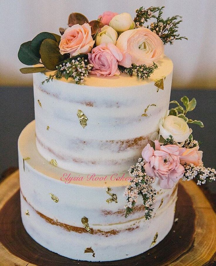 Gluten free *and* dairy free semi-naked wedding cake by Elysia Root Cakes…