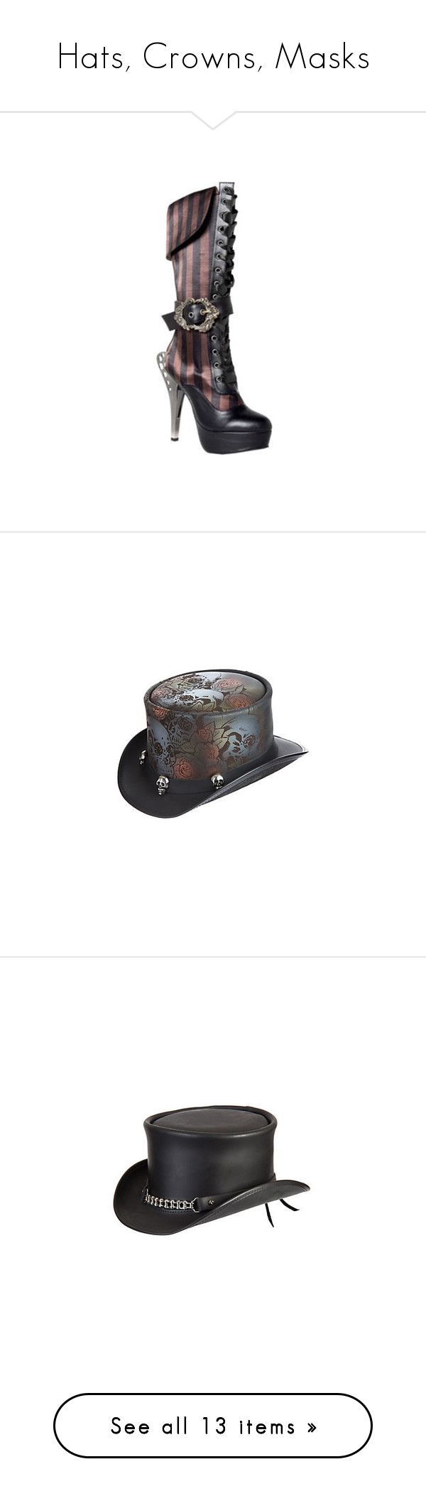 """""""Hats, Crowns, Masks"""" by nerd-muffin ❤ liked on Polyvore featuring shoes, boots, steampunk, black, casual, ornamented shoes, knee high boots, tall lace up boots, black platform boots and goth platform boots"""