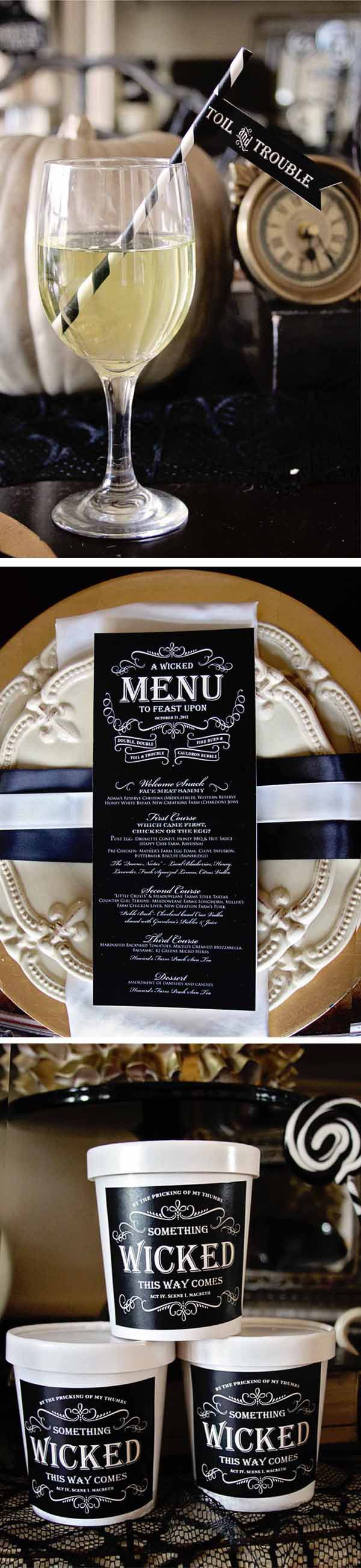 Like the striped paper straws and custom type labels/menu... Possibly fancy plates depending on $$ || Loralee Lewis Witches Tea Halloween party 7
