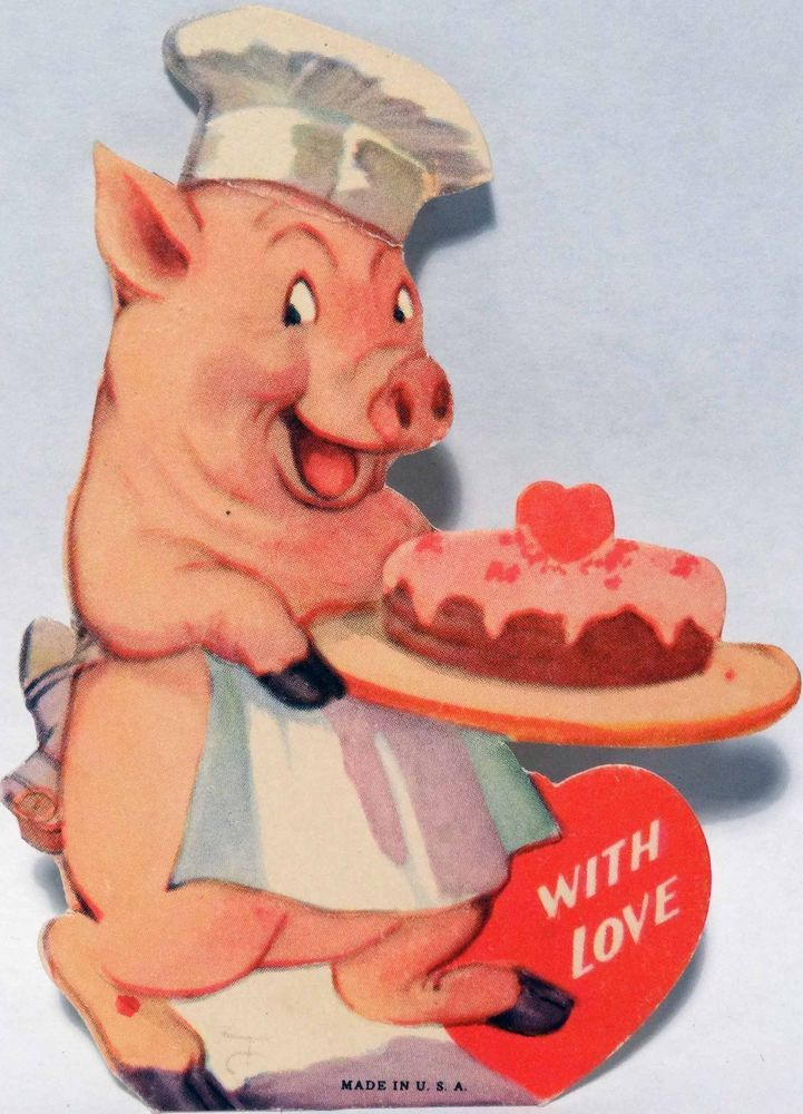 j1310 30s pig chef carries his cake vintage diecut valentine card - Valentine Pig