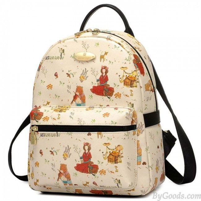 Sweet Cartoon Bear Girls Rucksack Lady Garden Style Backpack