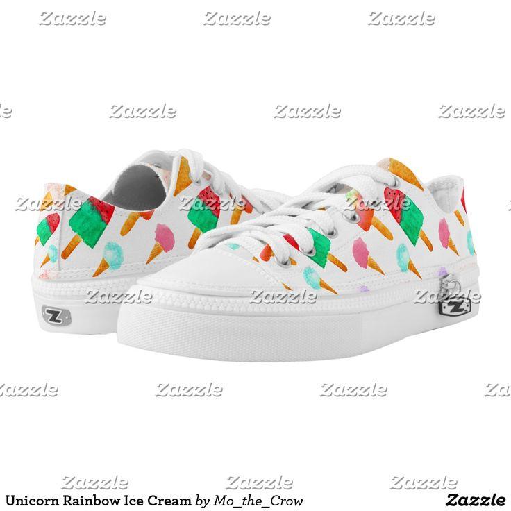 Unicorn Rainbow Ice Cream Low-Top Sneakers #unicornrainbow #icecream #popsicles #unicornrainbowfood #coldtreats