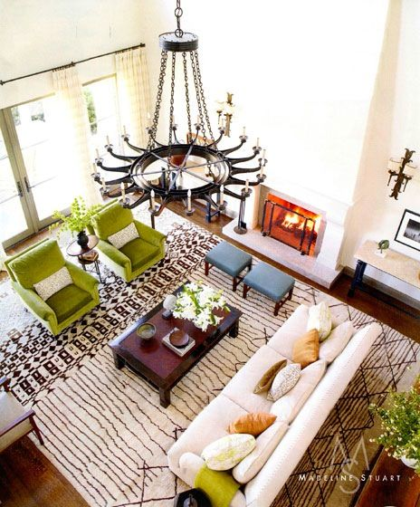 Medeline Stuart Living room.  Adore these colors and this sort of style.: Furniture Arrangement, Living Rooms, Moroccan Rugs, Colors Schemes, Accent Colors, Madeline Stuart, Green Chairs, Families Rooms, Bold Colors