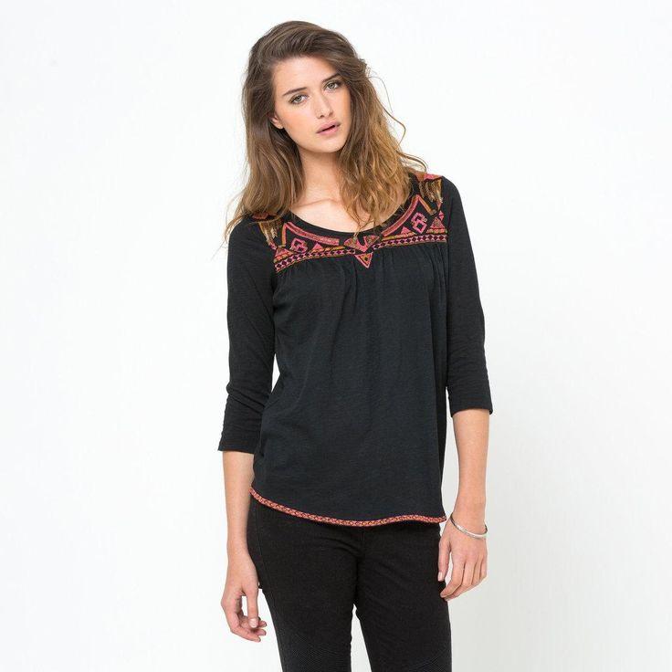 T-shirt manches 3/4 pur coton brodé Soft Grey | La Redoute