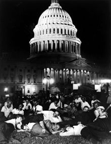 """Featured on Today in History on Wikipedia. Photo: Members of the Bonus Army camped out on the lawn of the U.S. Capitol building. """"The Bonus Army was the popular name of an assemblage of some 43,000 marchers—17,000 World War I veterans, their families, and affiliated groups—who gathered in Washington, D.C., in the spring and summer of 1932 to demand immediate cash-payment redemption of their service certificates."""" Hoover sent the army to clear them out after a conflict with police July 28…"""