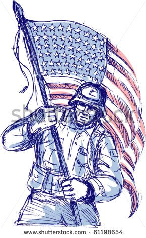 vector hand drawn sketch of an American soldier in full battle gear carrying stars and stripes flag isolated on white background - stock vector #memorialday #sketch #illustration