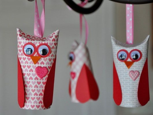 Click Pic for 30 Valentines Day Kids Crafts - Paper Roll Owls - DIY Valentines Crafts