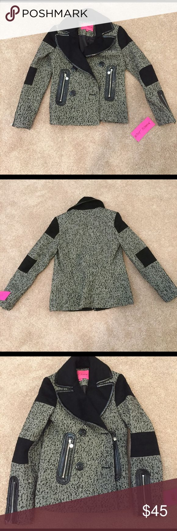 New Betsey Johnson pea coat Black and white wool, silver hard ware, fo leather trim Betsey Johnson Jackets & Coats Pea Coats