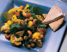 Coconut Curried Chickpeas, Cauliflower and Spinach
