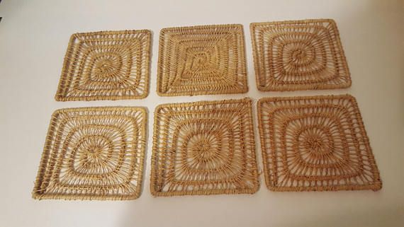 Check out this item in my Etsy shop https://www.etsy.com/ca/listing/578960663/vintage-wicker-coaster-set-retro-wicker