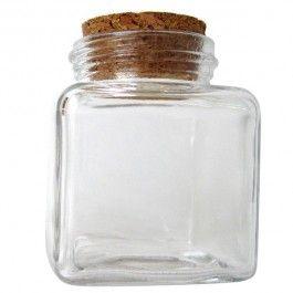 """Vasetto """"cubo"""" in vetro con tappo in sughero"""