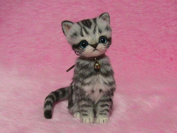 Needle Felted Silver Tabby Kitten: Miniature by LilyNeedleFelting