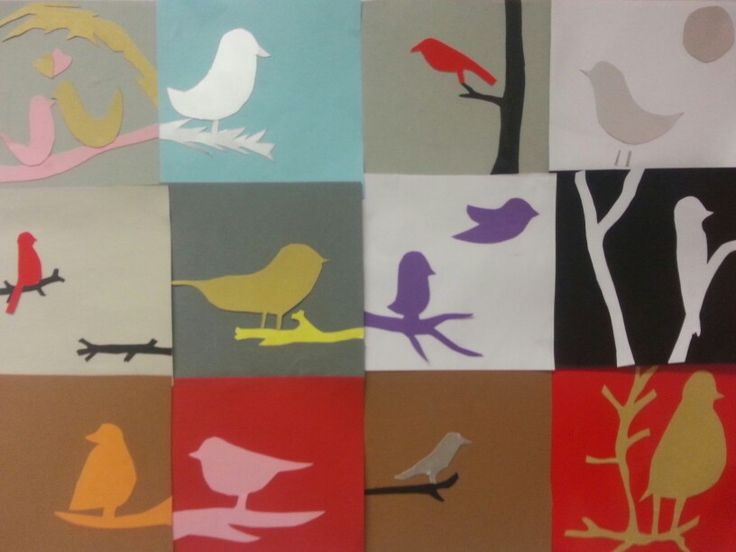 Birds made in collage technique by studens in grade 5.