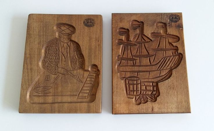 VTG SET 2 DUTCH HAND CARVED WOOD SPRINGERLE COOKIE MOLD TALL SHIP & CIGAR MAKER