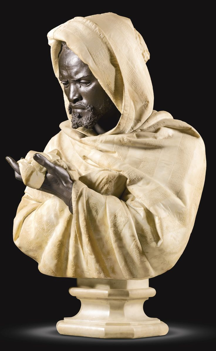Bust Of Othello, The Moor Of Venice (white Marble Set With Bronze)