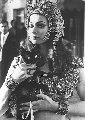 "Valerie Leon being ""Cleopatra"" (Margaret Fuchs/Queen Terathe) in the 1971 film, 'Blood from the Mummy's Tomb' http://BeingCleopatra.blogspot.com"