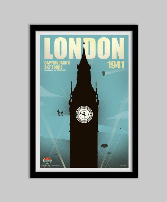 Doctor Who - Captain Jacks Sky Tours Retro Travel Poster - doctor who, jack harkness, travel poster, movie poster, art, wall decor