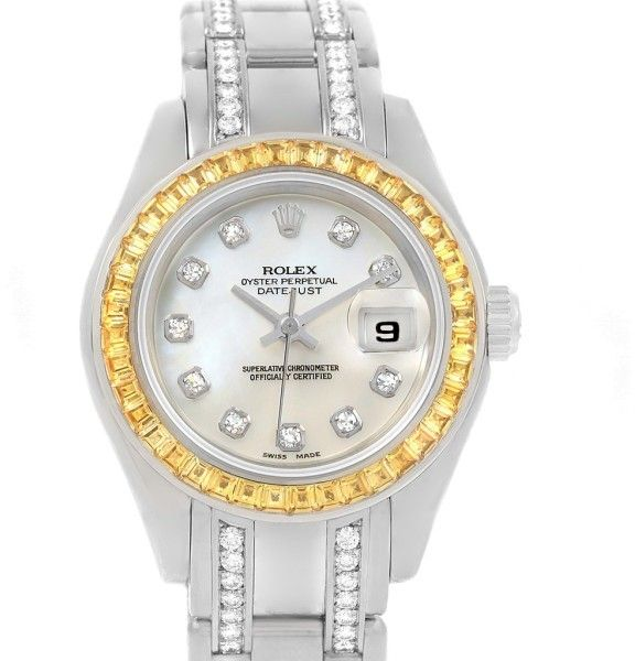 Rolex Pearlmaster 69309 18K White Gold with Diamond Automatic 29mm Womens Watch