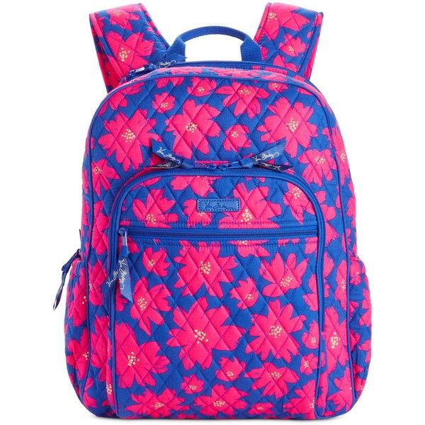 Vera Bradley Campus Backpack ($108) ❤ liked on Polyvore featuring bags, backpacks, art poppies, lightweight daypack, light weight backpack, pink quilted bag, lightweight rucksack and vera bradley