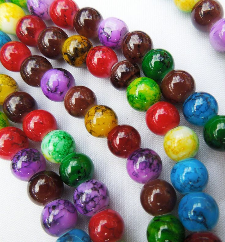 50 Round Mixed Jewel Colour Jewellery Making Glass Beads Multi-Coloured